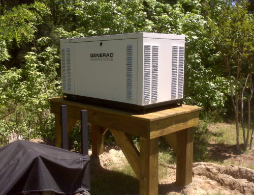 25kw generac commercial liquid cooled generator on a platform in lancaster flood zone