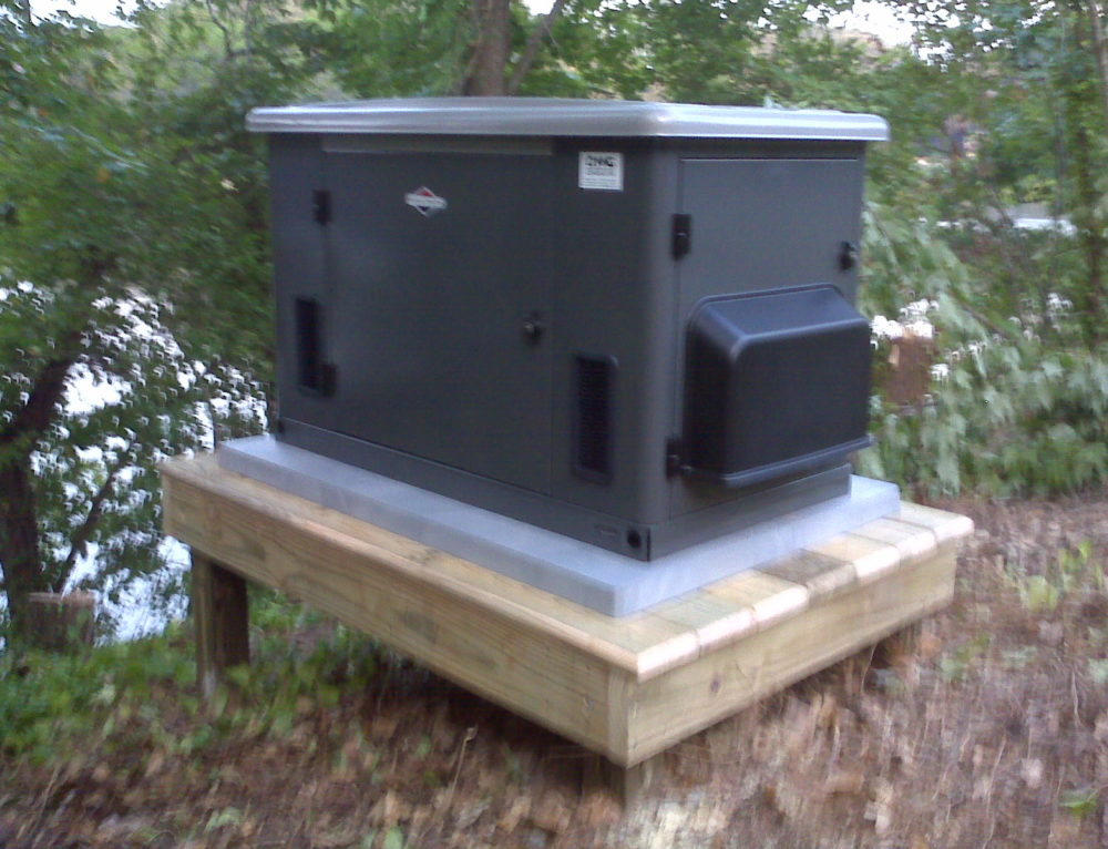 briggs & startton 20kW air cooled generator on platform installed by northern neck generator
