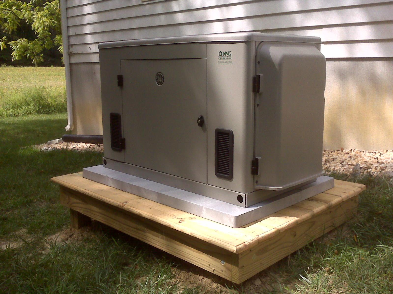 ge 20 kilowatt air cooled residential generator on custom platform