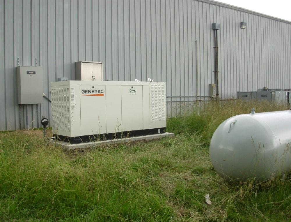generac 130kW generator with transfer switch and propane tank installed by nng