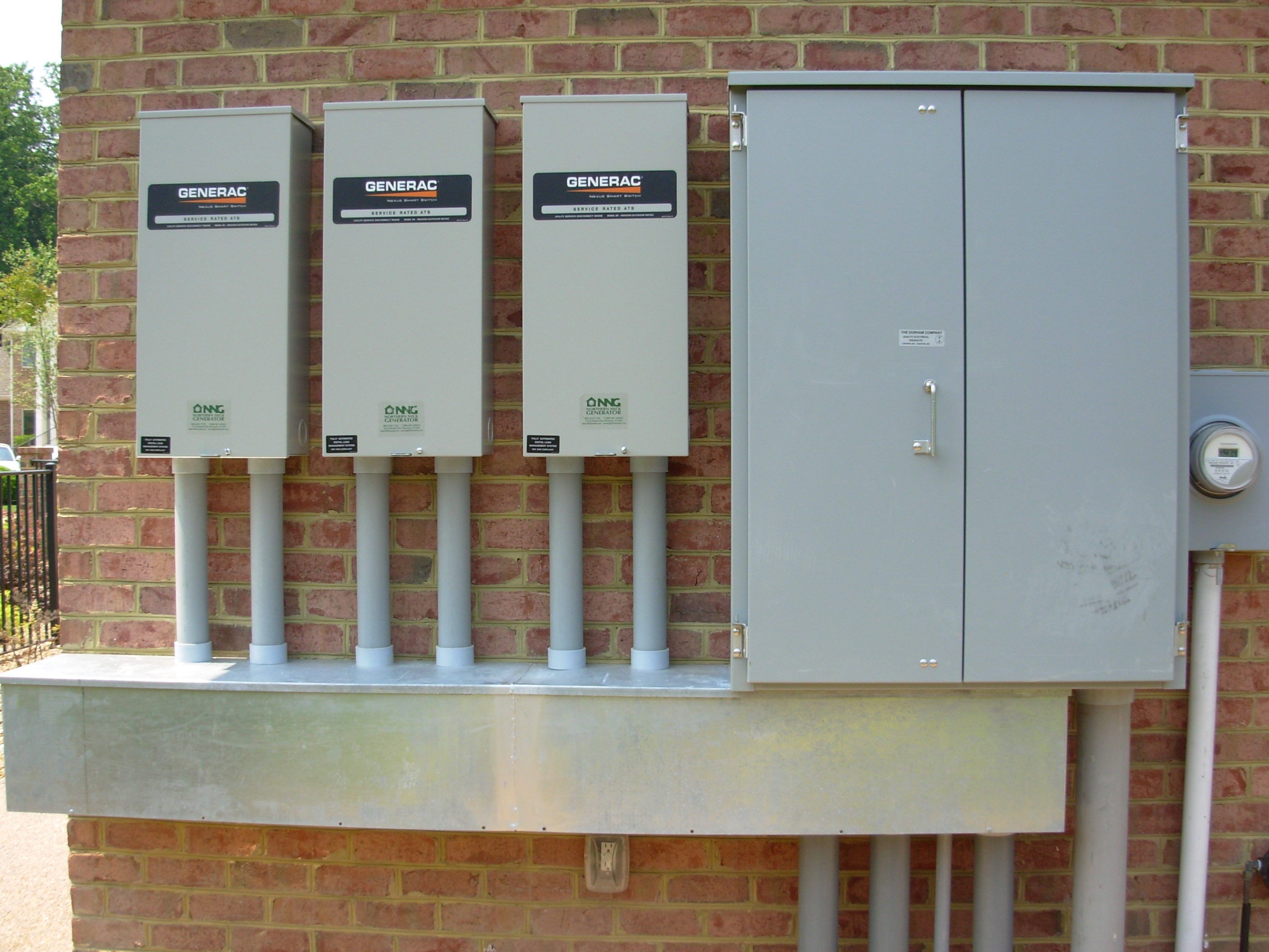 triple 200 amp transfer switches installed by NNG in mathews